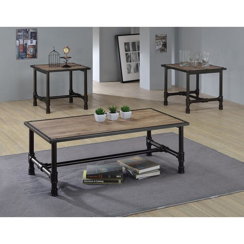 Acme Furniture Caitlin Rustic Oak Built-In Storage Coffee Table
