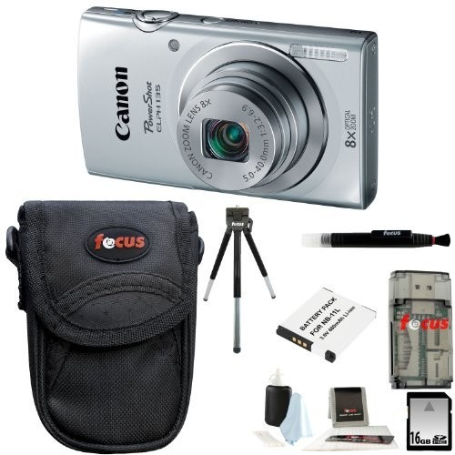 Canon PowerShot ELPH 135 (Silver) + 16GB Memory Card + All in One High Speed Card Reader + Standard Medium Digital Camera Case + Deluxe Accessory Kit
