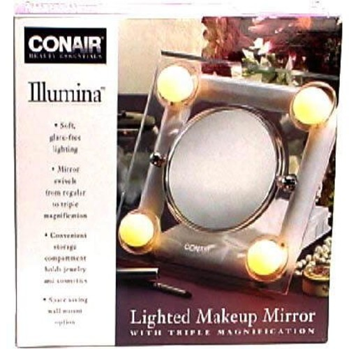 Conair Illumina Lighted Makeup Mirror with Triple Magnification, 1 each