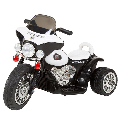3 Wheel Mini Motorcycle for Kids, Battery Powered Ride on Toy by Rockin Rollers  Toys for Boys & Girls Police Car [option : Black Ride-On]