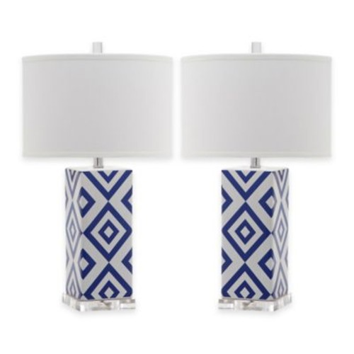 Safavieh Diamonds 1-Light Table Lamps with Cotton Shade (Set of 2)