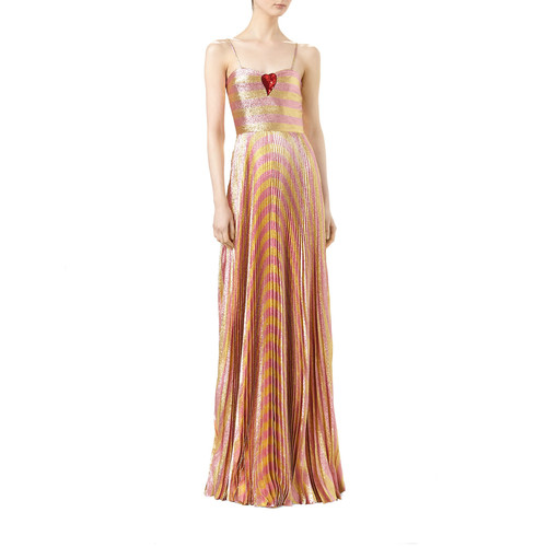 GUCCI Baiadera Striped Lurex® Gown, Gold Blush