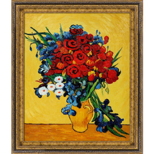 Poppies and Iris Collage by Vincent Van Gogh Framed Painting
