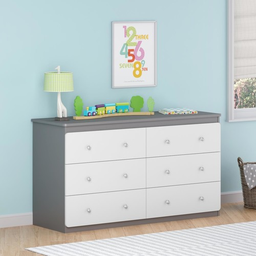 Ameriwood Home Willow Lake 6-Drawer Dresser- Gray and White