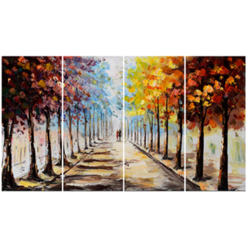 Designart - Autumn Forest and Sky - 4 Piece Landscape Canvas Art Print