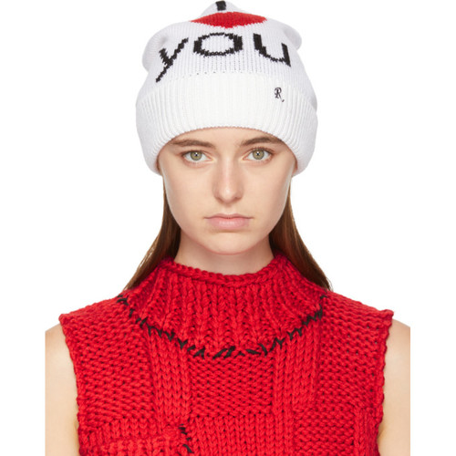 RAF SIMONS Black 'I Love You' Beanie