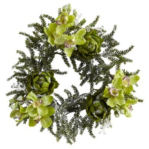 Home Decorative 22 Inch Iced Cymbidium & Artichoke Wreath