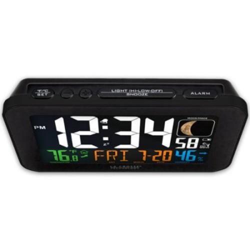 La Crosse Technology 617-1485B Atomic Color Alarm Clock Perp W/ Indoor Temperature & Humidity