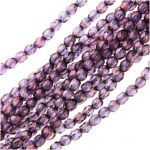 Czech Fire Polished Glass Beads 4mm Round Lumi Coated - Purple (50)