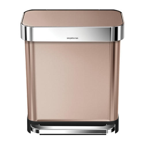 simplehuman Rectangular Step Trash Can with Liner Pocket, Rose Gold Stainless Steel, 30 Litre / 7.9 Gal