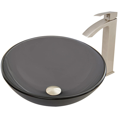 VIGO Glass Vessel Sink in Sheer Black Frost and Duris Faucet Set in Brushed Nickel