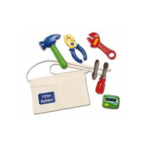 Kidoozie Little Builder Tool Belt - Includes Belt with Pockets, Pretend Hammer, Pliers, Wrench, Screwdriver With 2 Bits, And E