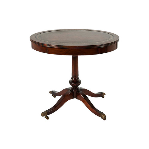 Oval Leather-Top Wood Side Table
