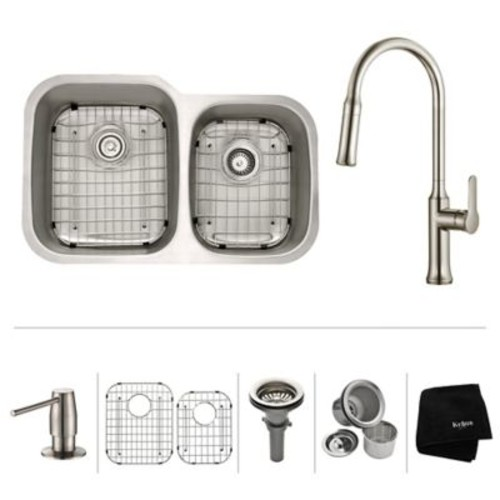 Kraus Kitchen Combos 32'' x 20.63'' Double Basin Undermount Kitchen Sink w/ Faucet; Stainless Steel