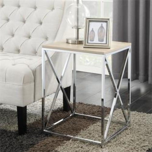 Convenience Concepts Belaire End Table in Weathered White
