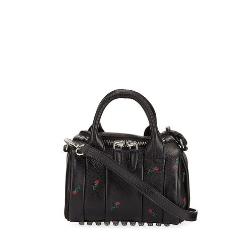 ALEXANDER WANG Mini Rockie Embroidered Leather Satchel Bag, Black