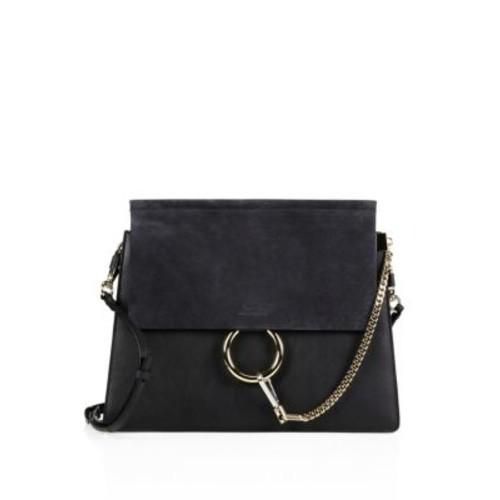 Faye Medium Suede & Leather Shoulder Bag