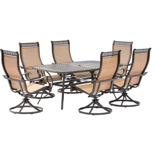 Hanover Manor 7-Piece Aluminum Rectangular Outdoor Dining Set with Cast-Top Table