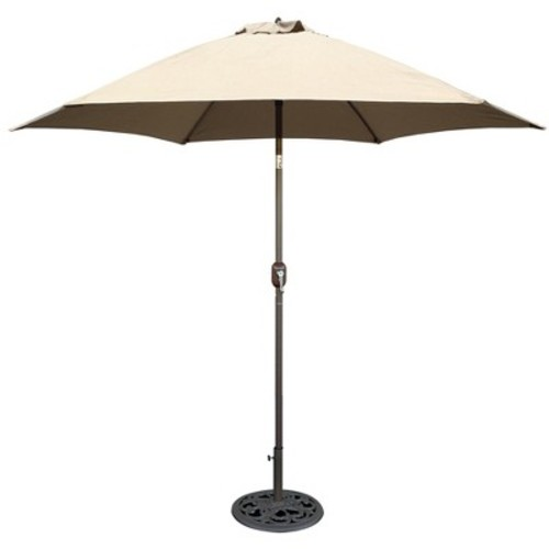 9' Aluminum Crank Lift Patio Umbrella - Beige