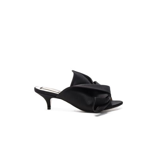 No. 21 Bow Kitten Heel Mule in Black Satin