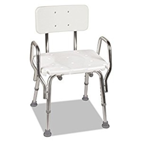 Medical Tool-Free Assembly Spa Bathtub Shower Chair, Heavy Duty Shower Chair, Portable Shower Seat, Adjustable Bath Seat, Shower Seat with Arms, White [White]