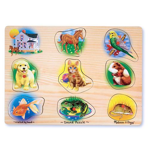 Melissa & Doug Sound Puzzles Set: Pets and Wild Animals - 8-Piece Wooden Peg Puzzles