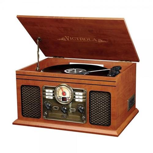 Innovative Technology Victrola Nostalgic Classic Wood 6-in-1 Bluetooth Turntable Entertainment Center, Mahogany