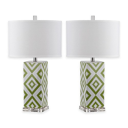 Safavieh Diamonds 1-Light Table Lamps in Green with Cotton Shade (Set of 2)