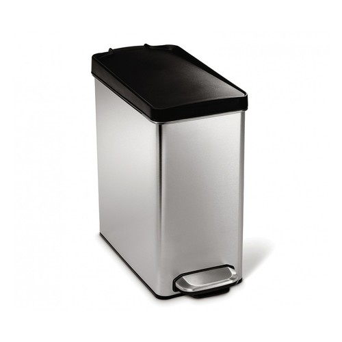 simplehuman Profile Step Trash Can, Stainless Steel, Plastic Lid, 10 L / 2.6 Gal [Brushed Ss With Black Plastic Lid]