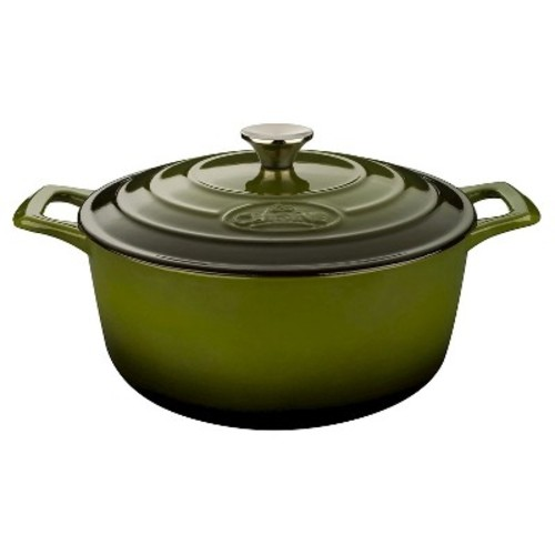 La Cuisine Pro 5 Qt. Cast Iron Round Casserole with Green Enamel