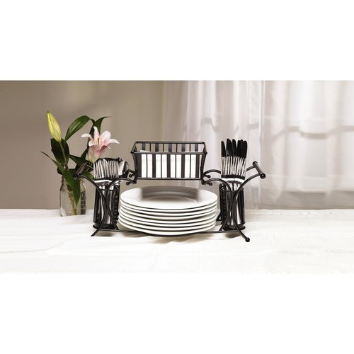 Gourmet Basics by Mikasa 21 in. 4 Compartment Carbon Steel Black Dining Set Caddy
