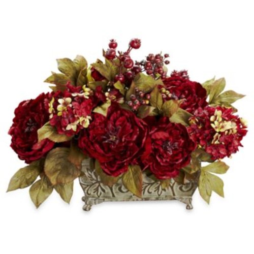 Nearly Natural Silk Peony & Hydrangea Flower Arrangement - Large