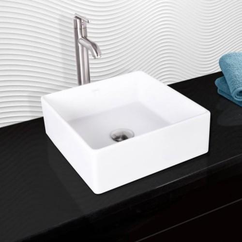 VIGO Dianthus Matte Stone Vessel Sink and Seville Brushed Nickel Bathroom Vessel Faucet