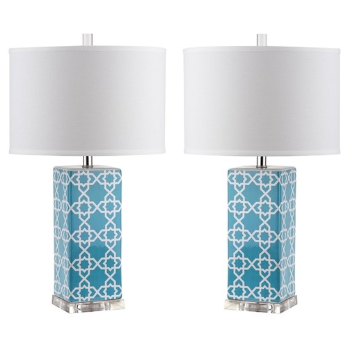 Safavieh Indoor 1-light Light Blue Quatrefoil Table Lamp (Set of 2)