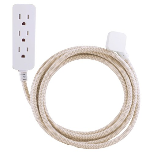 Cordinate 10 ft. Decor Extension Cord with 3 Grounded Outlets Surge Protection, Light Brown/White