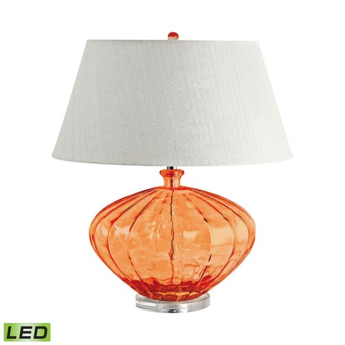 Titan Lighting 25 in. Orange Recycled Fluted Glass Urn LED Table Lamp