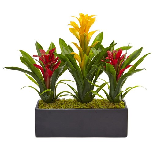 Nearly Natural Bromeliad Artificial Flowering Plants in Yellow Red