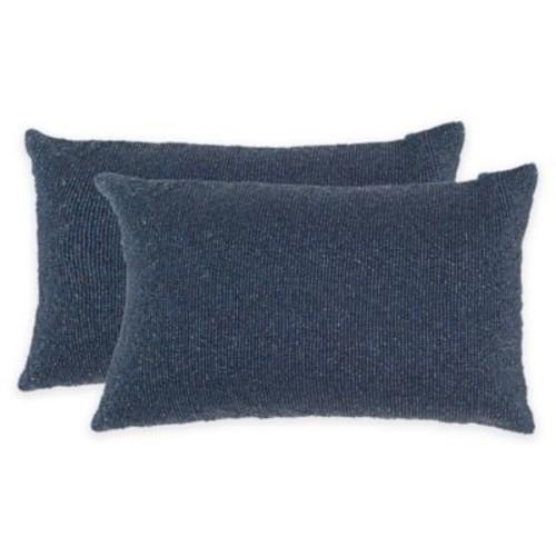 Safavieh Essence Throw Pillow in Midnight Navy (Set of 2)