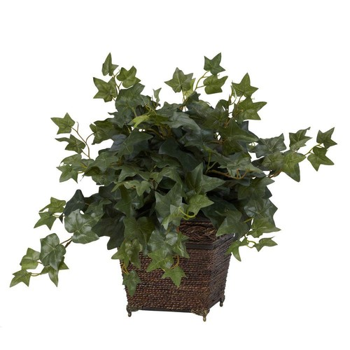 17 in. H Green Puff Ivy with Coiled Rope Planter Silk Plant