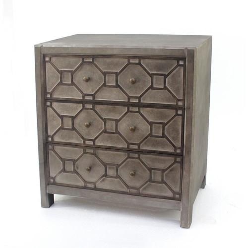 Distressed Brown Wood 3-Drawer Storage Cabinet