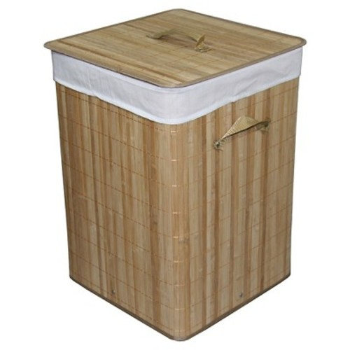 ORE International Square Folding Bamboo Hamper with Handle (19.5