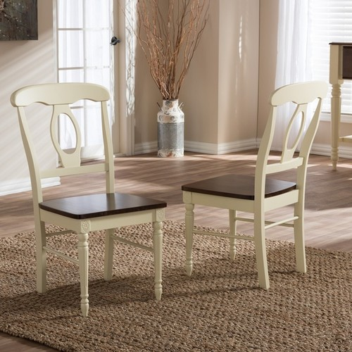 Baxton Studio Natasa French Country Cottage Buttermilk and Cherry Wood 2-piece Dining Chair Set