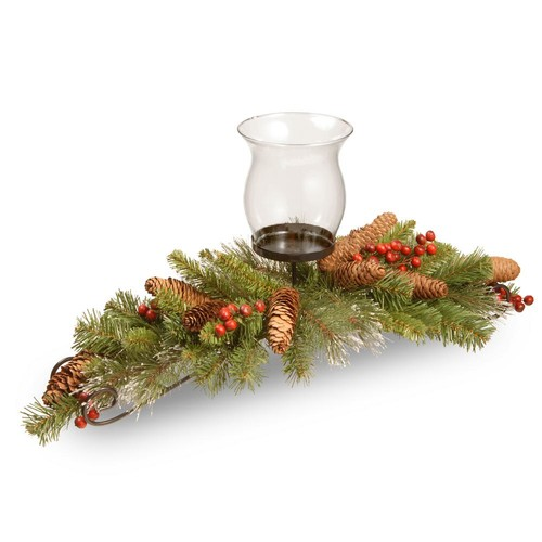 National Tree Company 30 in. Crestwood Spruce Centerpiece and Candle Holder