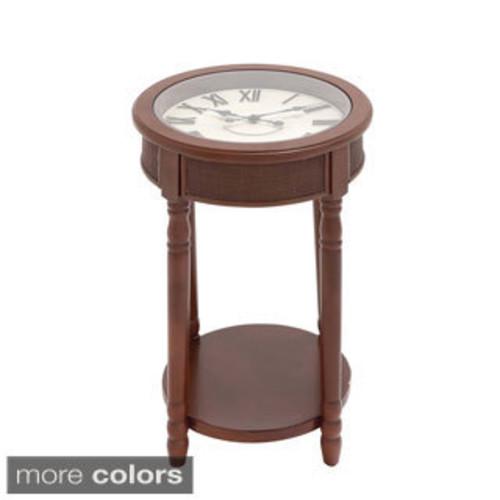 Casa Cortes Round Clock Accent Table
