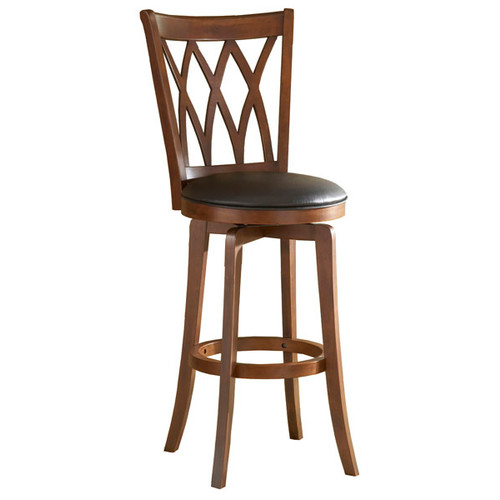 Hillsdale Furniture Mansfield 30 in. Brown Cherry Swivel Cushioned Bar Stool