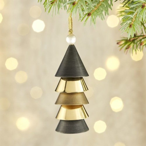 Triangle Bell Black and Gold Ornament