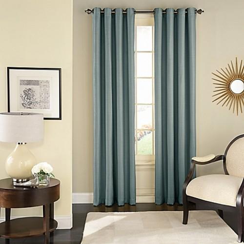Solar Shield Wilder 63-Inch Grommet Room Darkening Window Curtain Panel in Blue