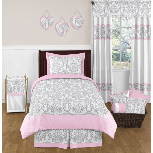 Sweet Jojo Designs Pink and Gray Elizabeth Collection 4pc Twin Bedding Set