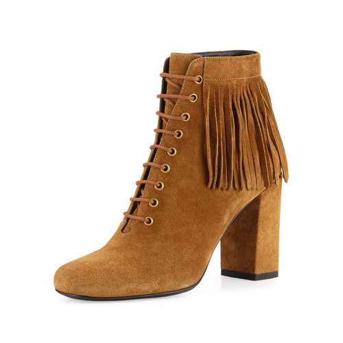SAINT LAURENT Fringed Suede Lace-Up Boot, Tan