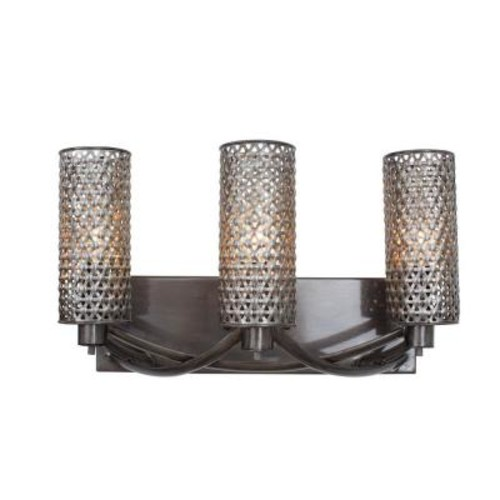 Varaluz Casablanca 3-Light Steel Bath Vanity Light with Recycled Steel Mesh
